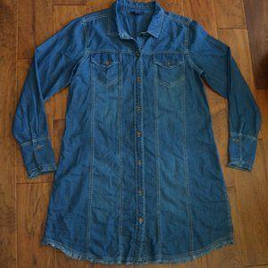 Hatley Denim Style Long Sleeve Dress with Fringe